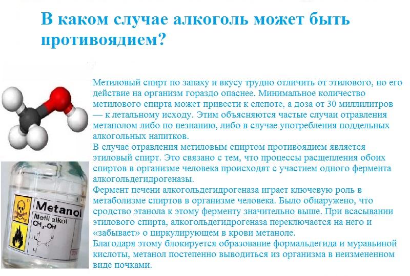 Этанол может быть противоядием при отравлении метиловым спиртом.jpg