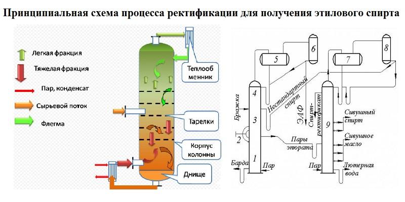 Принципиальная схема процесса ректификации для получения винного спирта.jpg